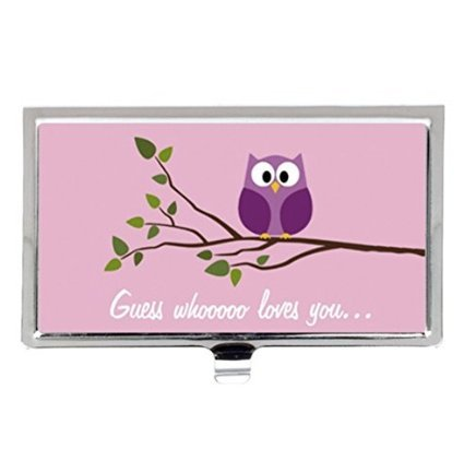 Cute Owls in Love Cartoonカスタムイメージビジネスカードホルダー名ケース   B01JIGYG9M