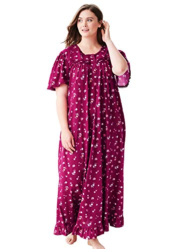 Dreams & Co. Women's Plus Size Long Floral Print Cotton Gown - Pomegranate Flowers, 3X (Long Ladies Gowns)