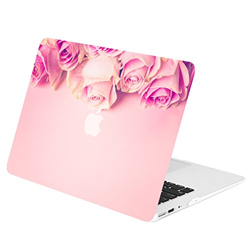 TOP CASE - Floral Pattern Rubberized Hard Case Compatible with Apple MacBook Air 13 A1369 and A1466 - Not Compatible 2018 Version A1932 MacBook Air 13 Retina Display - Pink Rose on Rose Quartz Base