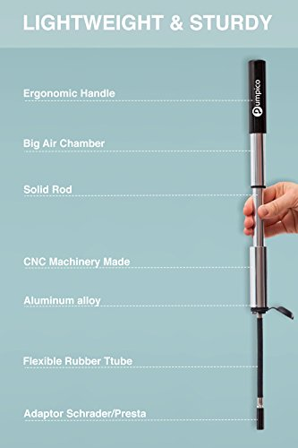 PUMPICO Bike Pump - Mini Bike Pump - Bicycle Pump - Presta And Schrader Valve Pump - Functional and Sturdy Aluminum Alloy Body and Ergonomical Handle with Smarthead Nozzle – Pressure Up to 140 PSI by PUMPICO (Image #2)