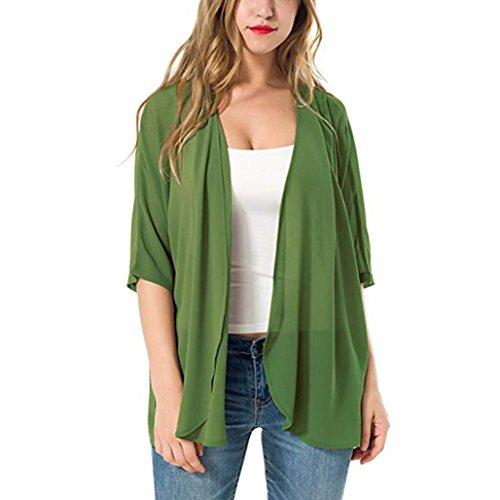 Ejercito Mujer Cárdigan Suelto Casual DAYLIN Capa Verano Verde Color Playa sólido de Kimono PBZwYF1qd