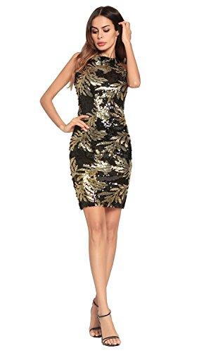 vestido noche de Brown FOLOBE lentejuelas de vestido fiesta la mujer de pRHx7nAI
