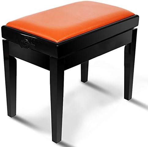 キーボードベンチ ピアノスツールレザー油圧リフトピアノスツール人間工学ソリッドウッド高さ調節が可能なピアノスツール ピアノ練習用 (Color : Orange, Size : 53x33x56cm)