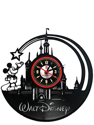 Meet Beauty Ding Cute Disney Walt CD Record Wall Clock Creative Children Room Hanging Art Decor Unique Gift Idea for Christmas and Halloween (30Cm Black Round)