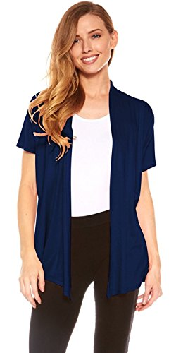 Red Hanger Cardigans for Women - Short Sleeve Womens Open Cardigan Sweaters (Navy-L) ()