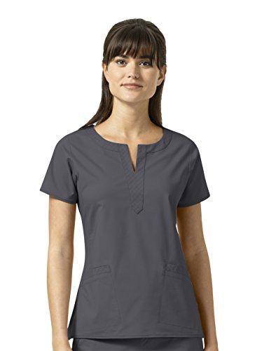- Signature Collection By Vera Bradley Women's Linda Notch Neck Solid Scrub Top Pewter