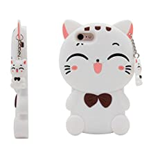 iPhone4s Case,J.Thor 3D Lucky Fortune Cat lucky Cat Kitty with Cute Bow Tie Silicone Rubber Phone Case Cover For iPhone4/4s-White