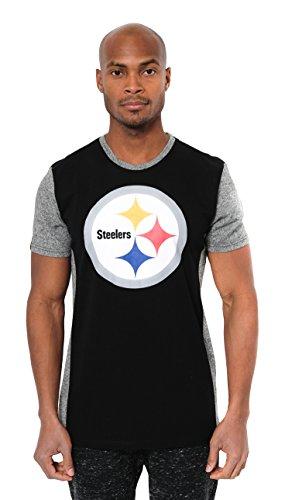 NFL Pittsburgh Steelers Men's Color Block Team Logo Short Sleeve T-Shirt Top, Black, Large