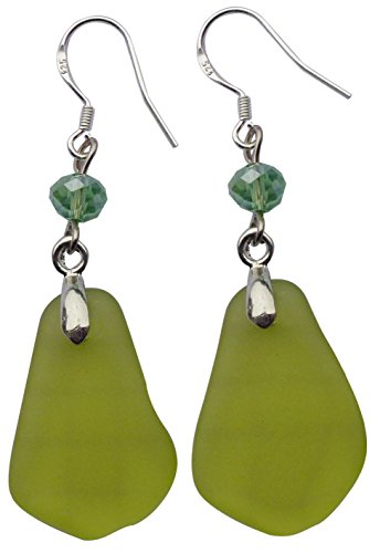 - Fashion Olive Green Beach Sea Glass Earring Drop Dangle Handmade with Silver Hook,Gift Package JCT ECO