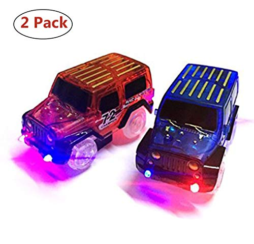 New Ideas Car Tracks,Light Up Replacement Toy Car (2-Pack) Glow in The Dark Racing Track Compatible with Most Tracks,Boys and Girls (red + Blue)