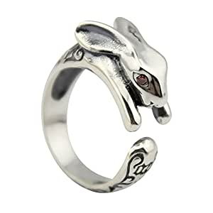 ELBLUVF 8% OFF 925 Sterling Silver Rabbit Animal Ring Gift for Friend Everyday Wear (Big Size)
