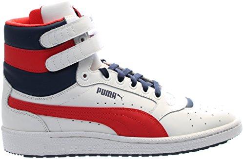 PUMA Men's Sky Ii Hi Fg Basketball Shoe, Puma White/High Risk, 13 M (High Top Puma Sneakers)