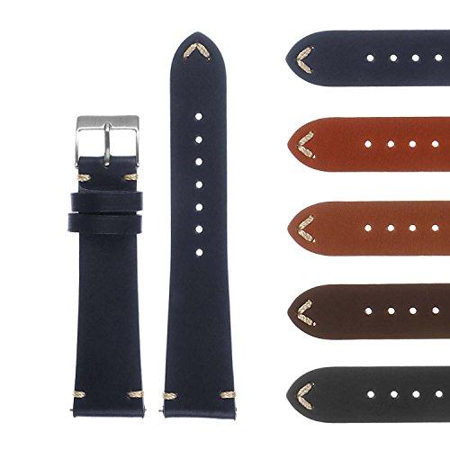 Vintage 5 Watch (DASSARI Hand-Stitched Mens Leather Watch Band - Quick Release Strap - 16mm 18mm 19mm 20mm 21mm 22mm 24mm 26mm)