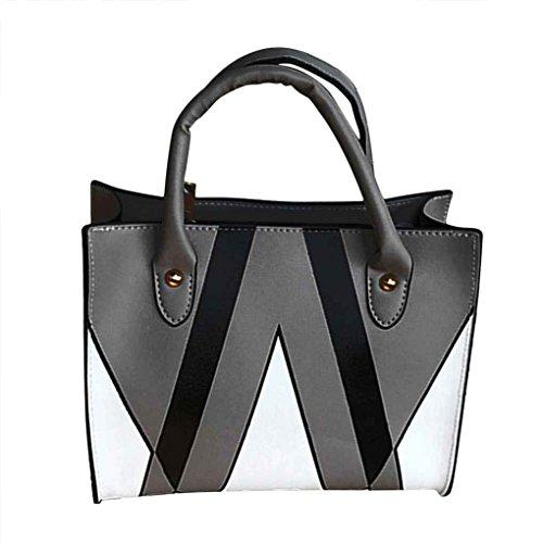 Republe Las mujeres de moda de cuero de la PU de los bolsos chica sencilla bolsos de hombro Messenger Bag lady color de costura Cruzado Casual gris oscuro