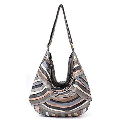 Vintage Leather Women Patchwork Hobo Bag STEPHIECATH Soft Casual Real Lamb Leather Sheep Skin Messenger Bag