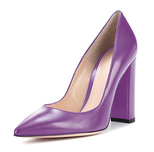 On High Shoes Court Toe Heel Sandals Block Slip Ubeauty Womens Purple Heels Bridal Pointed Pumps Closed 4xqP88
