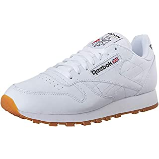 Reebok Men's Classic Leather Casual Sneakers, White/Gum, 11.5