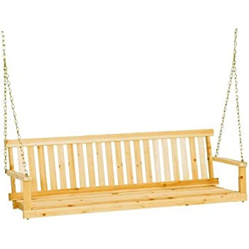 Premium Porch Swing Patio Swings Outdoor Wooden 2 Person Bench Furniture In  5 Ft Hanging Modern
