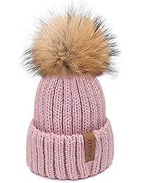 cc58ab458655f2 Winter Knit Hat Real Raccoon Fur Pom Pom Womens Girls Warm Knit Beanie Hat