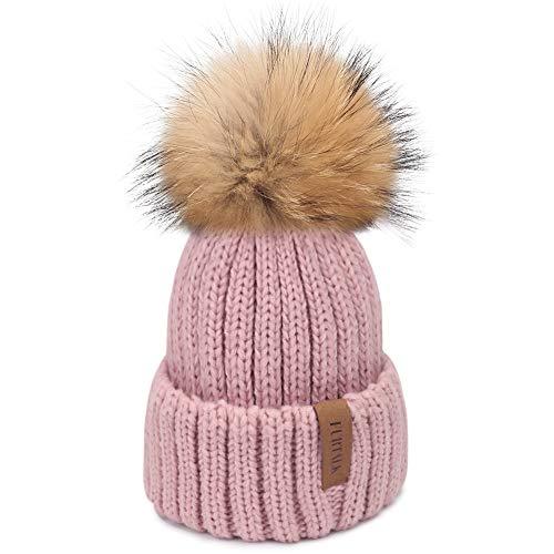 Hat Knit Ski Beanie (FURTALK Winter Knit Hat Real Raccoon Fur Pom Pom Womens Girls Warm Knit Beanie Hat (Lotus Pink))