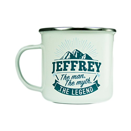H & H Top Guy Mug Jeffrey, Large Camping Coffee Mug, Enamel, 14 oz, Multi-Colored, Light-weight, Retro Inspired for Men
