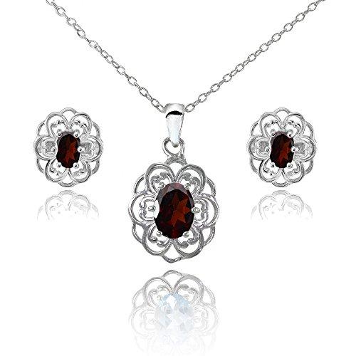 Sterling Silver Garnet Oval Filigree Flower Pendant Necklace and Stud Earrings Set
