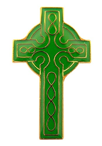 Gold Plate and Green Enamel Celtic Cross Lapel Pin, 1 1/8 Inch