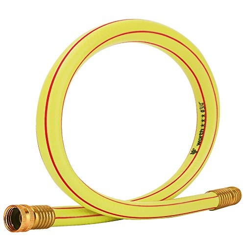Homes Garden 3/4 in. x 3 ft. Short Garden Hose Yellow High Water Pressure with Solid Brass Fittings for Household and Professional Use 5 Years Warranty #G-H163A07-USA
