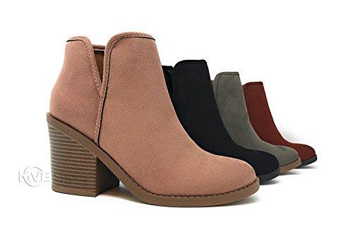 MVE Schuhe Soda Womens Ziel perforiert Stacked Blockabsatz Ankle Bootie Erröten * T