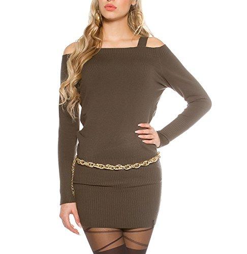 KouCla - Vestido - cuello hálter - para mujer caqui