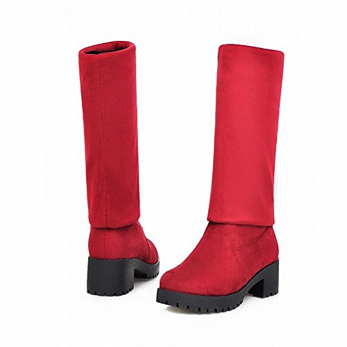 Latasa Womens Fashion Adjustable Shaft Height Nubuck Platform Mid Chunky Heel Pull on Over the Knee Boots Red EsZNtuZe