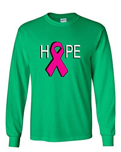 Hope Breast Cancer Awareness Pink Ribbon Long Sleeve T-Shirt Green XL