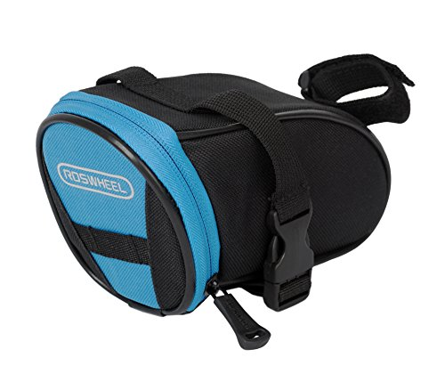Roswheel 13656 Bike Saddle Bag Bicycle Under Seat Pack Cycling Accessories Pouch, Black/Blue ()