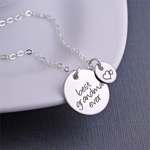 (Silver Best Grandma Ever Necklace, Mother's Day Gift for Grandma Jewelry with Heart Charm)