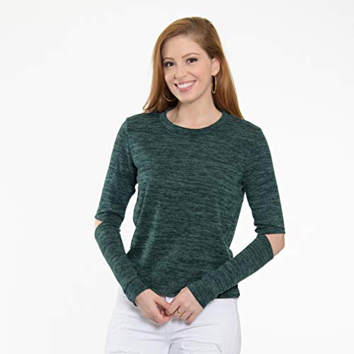 Flying Colors Women's Melange Knit Long Sleeve Cold Elbow Top