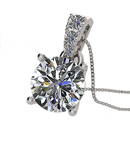 - Nana Silver CZ Round Solitaire Pendant-4 Prongs-8mm-2.00ct Equivalent Diamond Weight-Platinum Plated