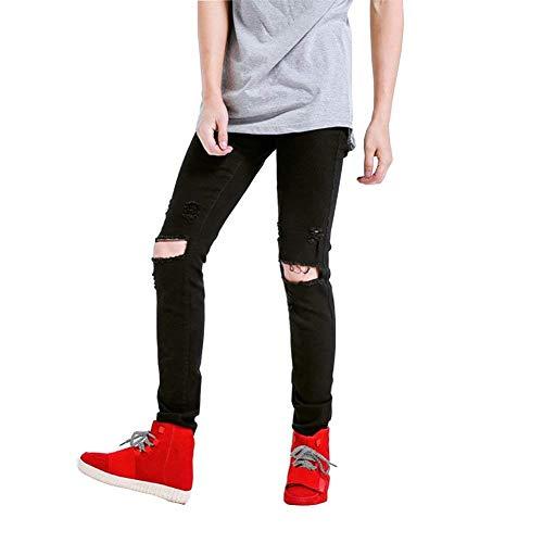 Uomo Slim Fashion Stretch Vintage Pantaloni Strappato Black14 Distrutto Jeans Giovane Biker Holes Fit xSn60qf5w