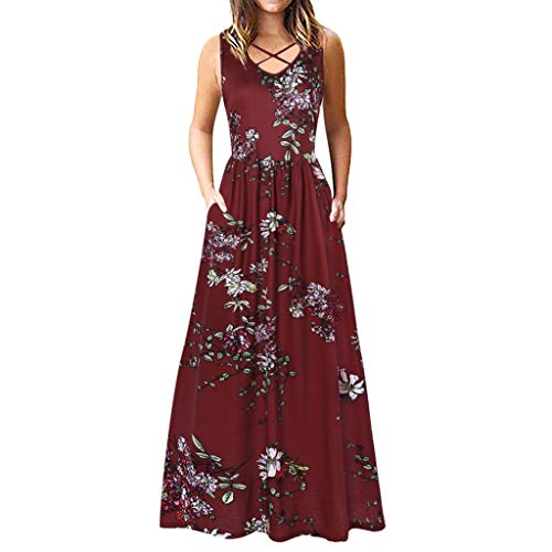♞Deadness Womens Casual Loose Sleeveless Maxi Dresses Floral Print V Neck Fashion Long Plain Dress -