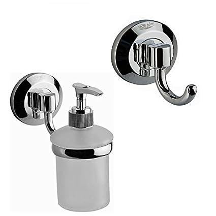 Dispensador de jabón de cristal con soporte + Toalla Gancho de pared Montaje baño inodoro gästezimmer