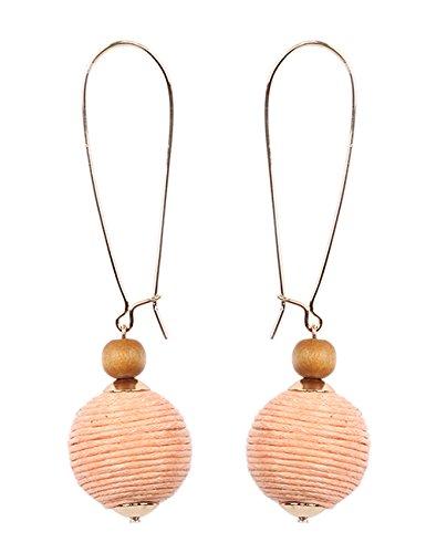 Women's Thread Lantern Ball Dangle Wood Bead Fashion Pierced Earrings, Peach/Gold-Tone (Wood Beads Peach)
