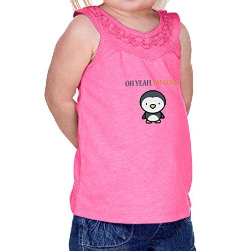 Cute Rascals Oh Yeah I'm Cool Penguin Infants Jersey V Neck Ruffle Yoke Tank Hot Pink 24 (Penguin V-neck Jersey)