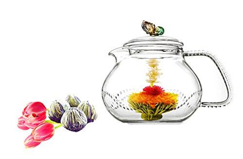 Tea Beyond Glass Teapot and Tea Set (24 oz Rainbow Fab Bloom 4cts)