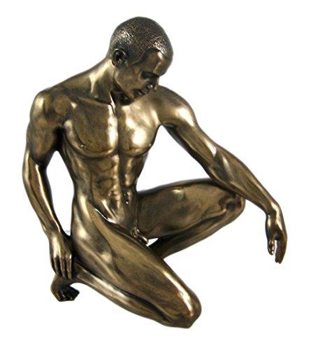 Male Nude Figure - Bronzed Finish Kneeling Nude Male Statue Sculpture