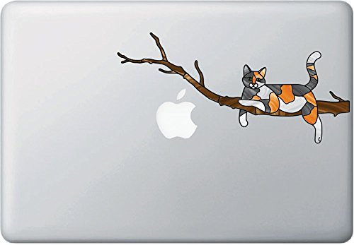 Calico Charming Cat on Branch - Stained Glass Style Vinyl Decal for Macbook | Laptop - © YYDC (8.5