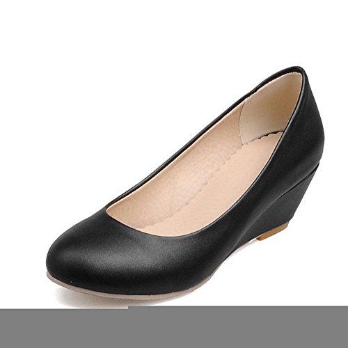 Balamasa Girls Color Matching Thick Bottom Heel Low-cut Uppers Zapatos De Cuero Imitados-zapatos Black