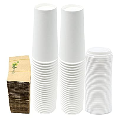 Durable White Paper Hot Coffee Cups with Cappuccino Lids and Protective Corrugated Cup Sleeves, Qty of 50