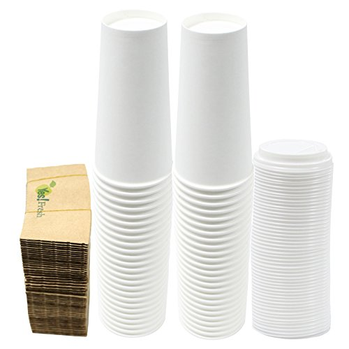 Durable White Paper Hot Coffee Cups with Cappuccino Lids and Protective Corrugated Cup Sleeves, Qty of 50 (20 Ounce)