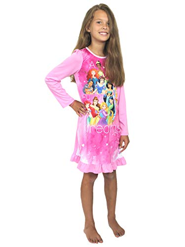 Disney Princess Girls Long Sleeve Nightgown Pajamas (6, Princess Pink)