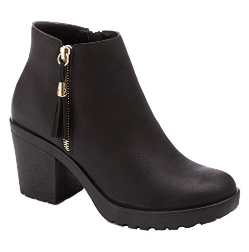 Lora Dora Womens Chunky Block Heel Boots Black Pu