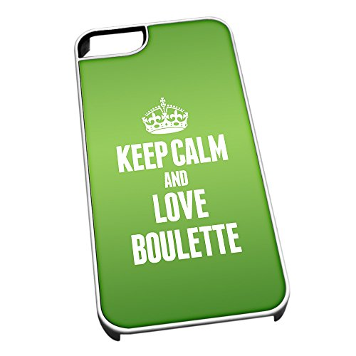Bianco cover per iPhone 5/5S 0848 verde Keep Calm and Love Boulette